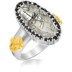 18K Yellow Gold & Sterling Silver Oval Rutilated Quartz Fleur De Lis Ring