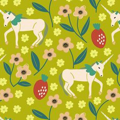 Unicorns and Strawberries fabric by susan_polston on Spoonflower - custom fabric