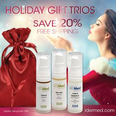 We've customized our Serums into a collection of Holiday Trio's. Our Holiday Trios come in a beautiful gift bag for a done-for-you signature skincare gift! We have assembled something for every skin condition: Check out these skin essentials for Age Defying, Oil Control, Brightening and Comfort Restoring. Sure to excite everyone on your list! Skin Care Clinic, Oil Control, Spa Deals, Spa Gifts, Serum, Conditioner, Perfume Bottles, Skincare, Stress