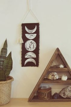 Moon Phase Wall Hanging . Hand painted on black Linen