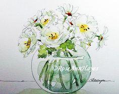 Watercolor Painting Print Purple Flowers in Glass door RoseAnnHayes