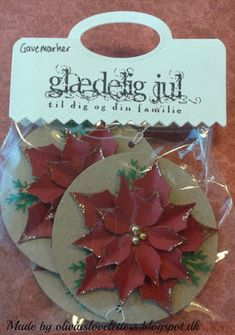 Olivias Loveletters: Gave mærker del 1 25 Days Of Christmas, Christmas Tag, Impression Obsession, Tags, Poinsettia, Cardmaking, Place Card Holders, Scrapbook, Ideas
