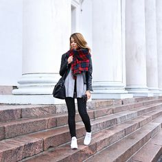 Casual winter layers, tartan scarf, long cardigan and leather jacket