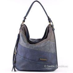 Granatowa torebka w trzech odcieniach + szary - model A4 - na ramię i do przewieszenia - specjalna cena w sklepie internetowym http://torebki-damskie.eu