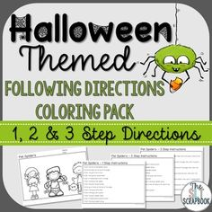 This Halloween Themed following directions coloring pack contains 6 Halloween themed scenes, all in black and white (line art). For each picture there is 1 page of 1-step directions, 1 page of 2-step directions and 1 page of 3-step directions. These packs are hugely popular in our store and are great for working following verbal instructions in Speech Therapy and Sped lessons!