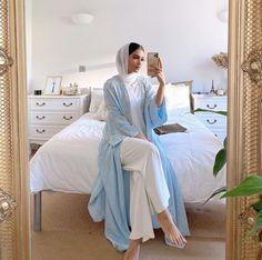 Elegant And Modern Abaya Designs - Get Inspiration on the latest Abaya styles from lace, floral, black, open style and embellished Abayas eidabaya Abaya Designs, Muslim Women Fashion, Islamic Fashion, Ladies Fashion, Korean Fashion, Mens Fashion, Abaya Style, Modest Fashion Hijab, Abaya Fashion