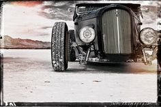 12x18 in. Black and White Bonneville Salt Flats Ford Roadster Poster Garage Art
