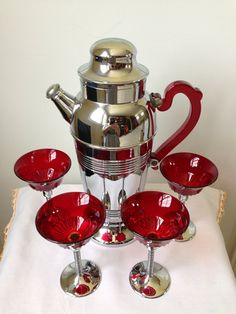 Art Deco  Pitcher and Cocktail Glasses  Chrome Glass by nddevens, $100.00