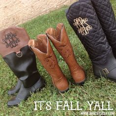 It's Fall Y'all! Get a pair of monogrammed boots today at MarleyLilly.com