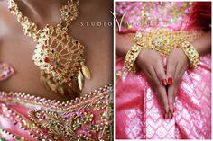 Traditional Khmer wedding dress-Oh my goodness! The pink is absolutely beautiful!<3