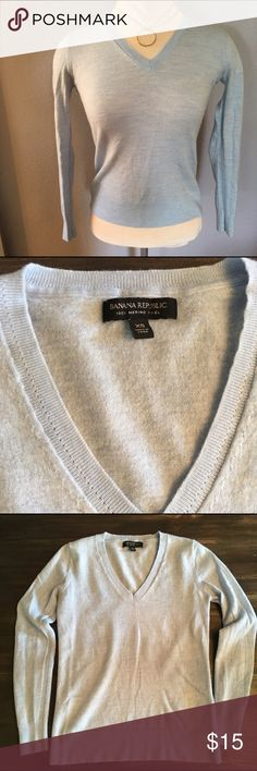 Banana Republic Wool Sweater Size XS This is a powder blue Banana Republic v-neck sweater in size xsmall. It is made out of 100% merino wool and is in good condition, no flaws. Banana Republic Sweaters V-Necks