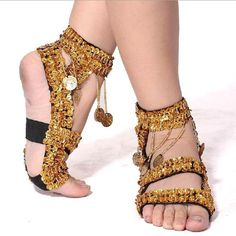 Fashion Belly Dancing Gold Coins Crystal Dance Shoes Gold Silver Free Shipping   eBay