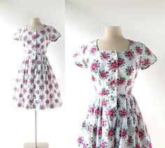 Vintage Dirndl Dress  1950s Dress  50s Floral by SmallEarthVintage