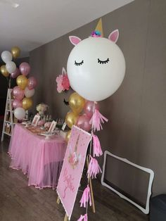 What a gorgeous Unicorn balloon!! Check out the other decorations at this Unicorn birthday party!! See more party ideas and share yours at CatchMyParty.com #unicorn #decorations
