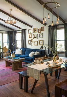 Eclectic design ideas with Cool blue sofa dark