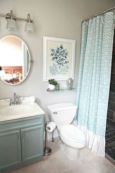Pretty and restful... LOVE the shower curtain!