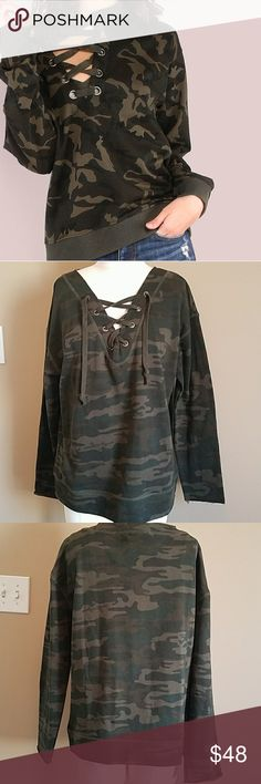 Sanctuary Camo Pullover Super comfortable French terry. New with tags. Never worn! View actual product photos please! No issues with garment. Sanctuary Sweaters V-Necks