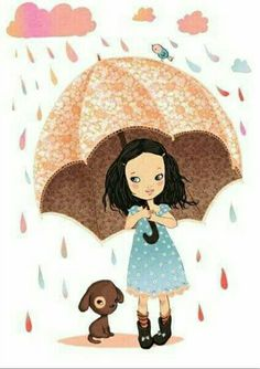Art And Illustration, Illustration Mignonne, Illustrations, Umbrella Girl, Under My Umbrella, Walking In The Rain, Singing In The Rain, Art Fantaisiste, Artist Art