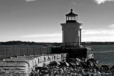 """Cobbled Lighthouse Path"" by Catherine Melvin, windham // Black and white Lighthouse in Portland, Maine. Portland Breakwater Light,also known as ""Bug Light"" due to its small size, was built in 1875. Modeled on an ancient Greek monument, this little gem was actually constructed with cast iron plates.Located at Bug Light Park in ... // Imagekind.com -- Buy stunning fine art prints, framed prints and canvas prints directly from independent working artists and photographers."