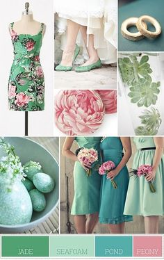 spring wedding colors Looks like JADE is the color in your palette.you'd need jade shoes. Vintage Wedding Colors, Spring Wedding Colors, Whimsical Wedding, Wedding Colours, Green Wedding, Summer Wedding, Spring Theme, Spring Party, Vintage Pink