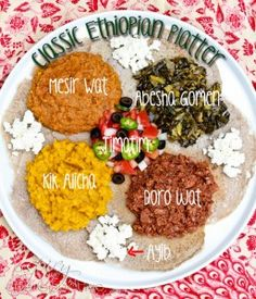 How to Make an Ethiopian Feast! Ethiopian Recipes: Doro Wat and Injera Recipe. All the fragrances and flavors of Ethiopian Recipes on one big platter. Ethopian Food, Ethiopian Cuisine, Ethiopian Injera, Vegan Ethiopian Recipes, Ethiopian Bread, Vegetarian Recipes, Cooking Recipes, Cooking Tips, Gastronomia