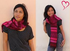 Large, beautiful pink on purple scarf, handmade by our artisans in #Guatemala. #ethicalfashion #fairtrade #whomadeyourclothes