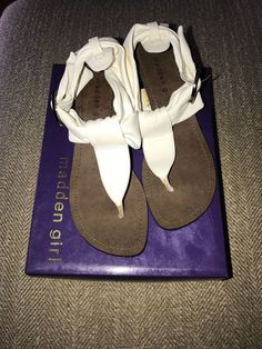 37b1c594097d57 Women s White Madden Girl Whistle Wedge Sandals Size 6.5  fashion  clothing   shoes