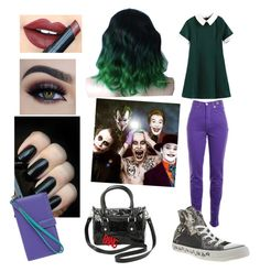 """Genderbent Joker (DC Comics)"" by this-carebear on Polyvore featuring Versace Jeans Couture, Converse, Fiebiger, Lodis, women's clothing, women, female, woman, misses and juniors"