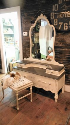 Antique Vanity painted with french graphics too see more of our work here https://www.facebook.com/pages/Zoeys-Uber-Chic-Loft/539668809406426