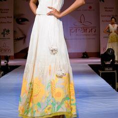Khadi top with uneven kali organza skirt with a big khadi sunflower jamdani border- Berlin Spring Collection