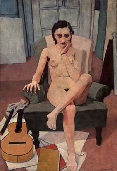 Felice Castorati - Seated Woman With Guitar (1938)