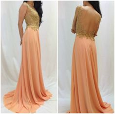 Peach Maxi Lace Chiffon Dress with Beads by MDSewingAtelier, $349.90. Very Elie Saab or Zuhair murad. Can't beat the price! Beaded mesh wedding dress.