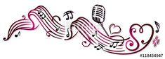 Notenblatt mit Musiknoten, Mikrophon und Herzen. Sheet Music with music notes, microphone and hearts. © Christine Krahl - #christinekrahl #vector - Fotolia/AdobeStock: https://de.fotolia.com/p/201023330  Shutterstock: https://www.shutterstock.com/g/christinekrahl