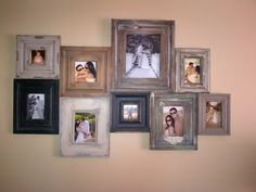 Distressed picture frames. LOVE THIS!!!