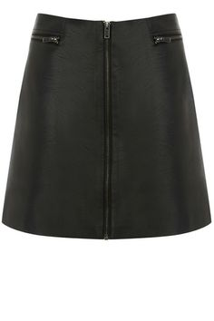 This statement faux leather mini skirt features a super flattering a-line shape and exposed metallic zip fastening on the front. The piece is finished with a high waistline and looks best with a buttoned up shirt and ankle boots.