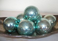 silvery blue Christmas ornaments - vintage glass balls - distressed mottled patina - shabby cottage chic - ornate hollywood regency set of 7 by shesitsbytheseashore on Etsy