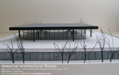 Neue Nationalgalerie by Mies van de Rohe scale 1:250 size cm 54,5 x 44 The model is constructed in resin and Forex an plexiglas Finished and colored by hand. Signed Lucio Tuzza.  I ship worldwide 235 € + shipping information and bookings: hist.arch.models@gmail.com