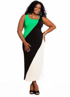Ashley Stewart Women's Plus Size Color Block Maxi [List Price: $49.50 - Buy New: $29.70 ] #plus #dress #fashion [Ashley Stewart is the premier fashion retailer for the plus-size urban woman plus-sizes 12-26]