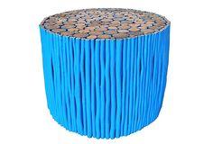 "18"" Uca Round Coffee Table, Blue/Natural on OneKingsLane.com"