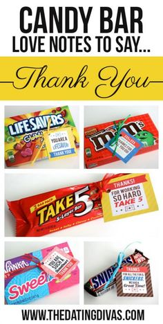 Clever Candy Sayings For {almost} Every Occasion!The things you need are: #1 Some candy bars#2 A few printable candy bar gift tags-You are a LIFESAVER! Thank you! -You are such a SWEETART!  Thank you! -You always come through in a CRUNCH.  Thank you! -Thanks for all you do.  These HUGS and KISSES are for you! -Thanks for working so hard.  TAKE 5! -I MINT to tell you how much I appreciate you! -Thanks for giving me a hand.  You're worth more than 100 GRAND! -Thanks for all the fun and…