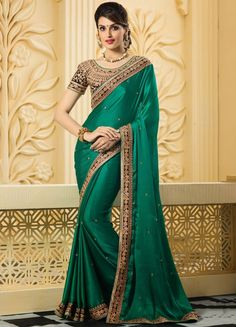 Beauteous Bottle Green Saree