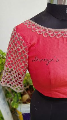 Hand Embroidery, Embroidery Designs, Mirror Work Blouse, Simple Blouse Designs, Cut Work, Hand Designs, Blouses, Clothing, Outfits
