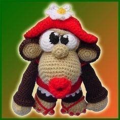 * Dies ist ein Muster GEHÄKELT und nicht das fertige Spielzeug *    Miranda ist ein kleines Äffchen liebt Mode. Sie will ein Vorbild sein und