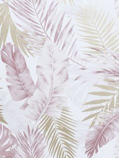 Transform a room with ease with this simple to use Artistick Soft Tropical Self Adhesive Wallpaper. The design features palm leaves and foliage in pretty blush pink tones with soft pearlescent gold touches, set on an off white background with a smooth matte finish. Ideal for feature walls and upcycling, simply peel the backing off and apply the high quality wallpaper to any flat surface. If you change your mind the paper can be removed and repositioned without leaving any sticky residue… Paper Wallpaper, Print Wallpaper, Self Adhesive Wallpaper, Wallpaper Roll, Peel And Stick Wallpaper, Pink And Gold Wallpaper, Blush And Gold, Touch Of Gold, Blush Pink