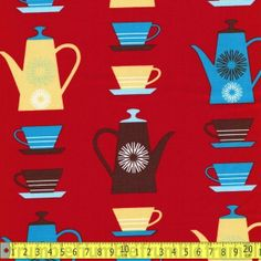 Teapots Teapots, 9 And 10, Happy, Red, Fabrics, Patterns, Pattern, Cloths, Art Designs