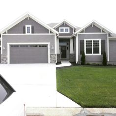 Gauntlet Gray Shingle Siding In Dormer And Garage Doors Dovetail House Body Color Dover White Trim Seal Skin Shutters