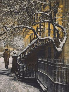 Winter Evening - Mezzotint by Frederick Mershimer; American, b.1945
