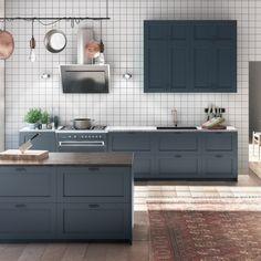 Kökslucka i Picky Livings modell - tillsammans med grön marmorskiva Shaker Kitchen, Kitchen Backsplash, New Kitchen, Kitchen Dining, Kitchen Cupboard Doors, Kitchen Cabinets, Kitchen Units, Beddinge, Hacks Ikea