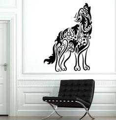 Wall Decal Wolf Predator Animal Ornament Tribal Mural by BoldArtsy