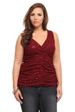 Burgundy Sequined Ruched Tank Top SKU: 565843